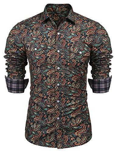 COOFANDY Men's Floral Dress Shirt Slim Fit Casual Paisley Printed Shirt Long Sleeve Button Down Shirts (Dark Green1, Small)