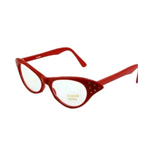 8aa51039d99 Rhinestone Cat Eye 50s Party Glasses in Many Colors (Red) at Amazon Women s  Clothing store  Costume Accessories