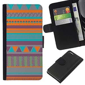 A-type (Art Native American Quilted Teal) Colorida Impresión Funda Cuero Monedero Caja Bolsa Cubierta Caja Piel Card Slots Para Apple iPhone 5C