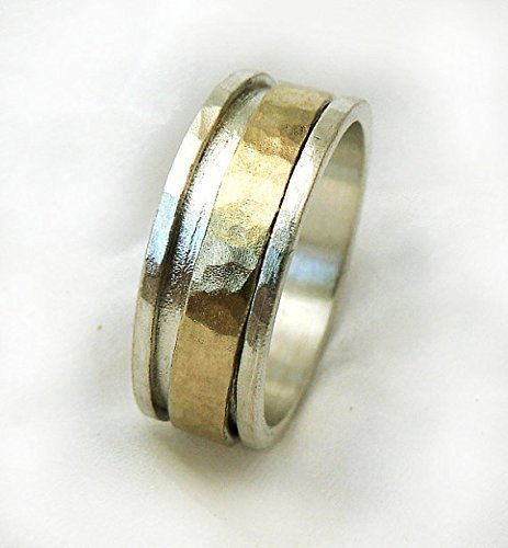 (Gold Spinner Men's Ring, Hammered Sterling Silver Band with 10k Yellow Gold Spinner Ring, Men's Wedding Band, Wide Lightweight Ring)