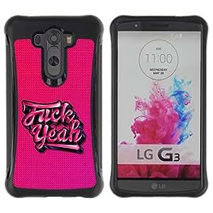 Fuerte Suave TPU GEL Caso Carcasa de Protección Funda para LG G3 / Business Style Yeah Pink Tattoo Graffiti Text Cool Beans
