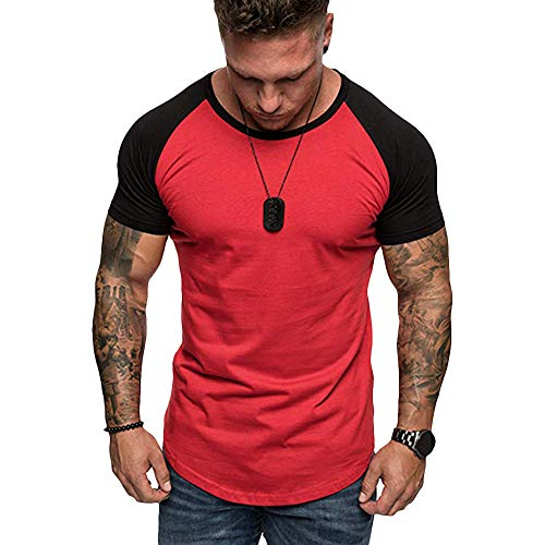 CharMma Men's Casual Round Neck Short Sleeves Color Block Panel Slim Fit T-Shirt (Red, L)