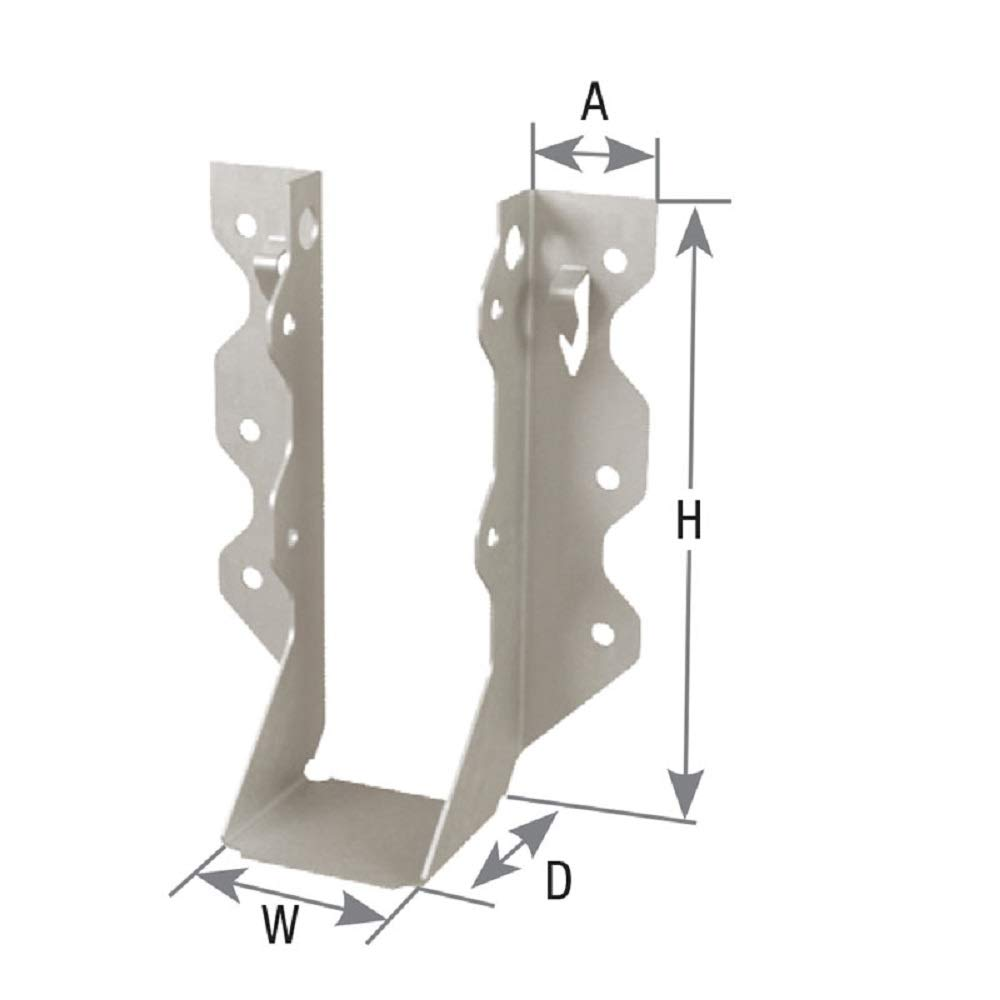 Mitek USP Structural-Connectors JL26 Face Mount Joist Hanger, Light-Capacity 20 Gauge, G90 Galvanizing Finish Steel, 2 x 6 Joist Dimensional Hangers, 50 Count