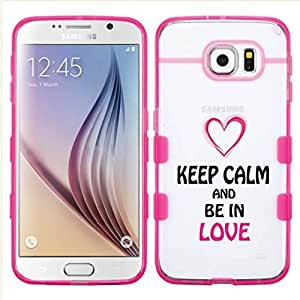 Samsung Galaxy S6 EDGE Keep Calm And Be In Love Glassy Transparent Clear Gummy Cover (Transparent/Pink)