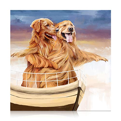 SUMGAR Dog Paint by Numbers for Adults Animals Canvas DIY Oil Painting Kits for Beginners & Kids, Acrylic Drawing Paintwork Brown Love Couple Golden Retriever in Titanic,16