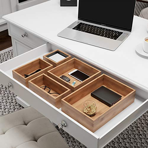 Lavish Home Drawer Organizer -5 Compartment Modular Natural Wood Bamboo Space Saver Tray Storage for Kitchen, Office, Bedroom and Bathroom