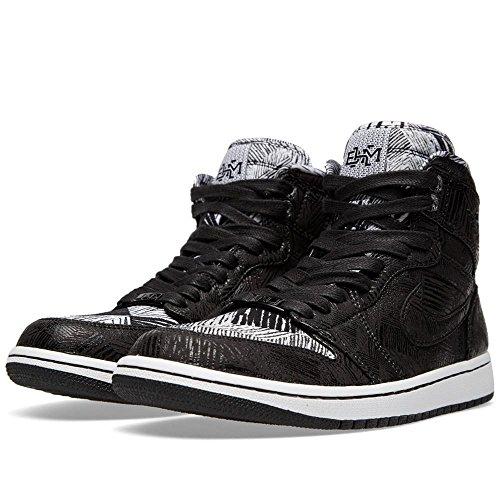 Jordan Nike Hommes Air 1 Haute Histoire Noire Mois Bhm Rétro Cuir Noir Taille 9 Noir / Blanc