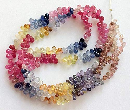 - 1 Strand Natural Multi Sapphire Faceted Tear Drop, Multi Sapphire Gemstone, 3.5mm Beads 7 Inch by Gemswholesale