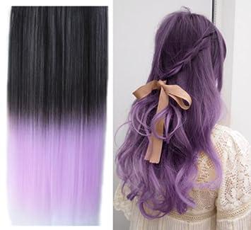 Amazon uniwigs ombre dip dye color clip in hair extension uniwigs ombre dip dye color clip in hair extension 60cm length black to light purple pmusecretfo Image collections