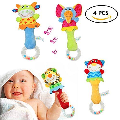 IB Baby Animals Rattle Shaker 4 Packs Soft Plush Rattle Toys