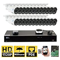 GW 32 Channel H.265 NVR 4MP (2592 x 1520) Power Over Ethernet IP Camera System, 24pcs 4MP 1520p 2.8-12mm Varifocal Zoom POE Weatherproof Bullet Security Cameras, 130ft Night Vision