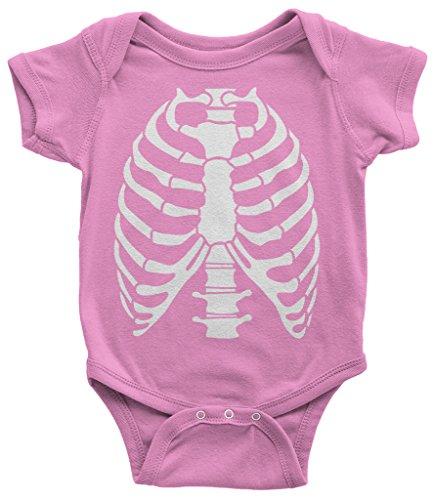 Threadrock Baby Skeleton Rib Cage Halloween Costume Infant Bodysuit 6 Months Pink