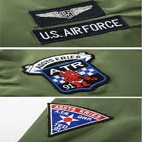 Abiti Uomo Giacca Per A Badge Flight schwarz Air 4 Patch Bomber Vintage color Leggera M Comode Da Force Size Jacket Classica Taglie Con Zip Vento rEHwqrp