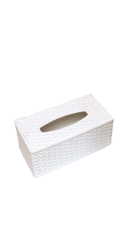 Superio Rectangular Tissue Box Holder, Wicker Style (White)