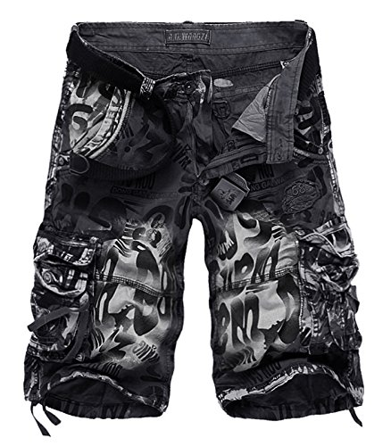 AOYOG Mens Shorts Casual Cargo Shorts Athleisure Sports Shorts Cotton, Gray Camouflage 2292, Lable size 40(US 38)