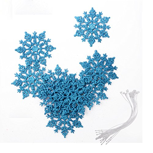 Snowflake Theme Wedding (Saim Set of 12 Snowflake Christmas Ornaments Winter Wedding Favor Birthday Party Theme Decoration for Girls - Iridescent Blue Glitter - 4