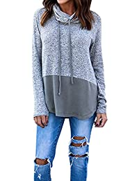 Women's Cowl Neck Long Sleeve Pullover Sweater Blouse Knit Tops