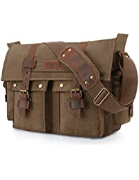 Military Messenger Bag Canvas Leather Shoulder Bag Fits 16 Inch Laptop