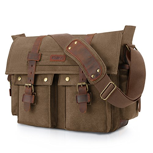 Kattee Unisex's Classic Military Canvas Shoulder Messenger Bag Leather Straps Fit 16
