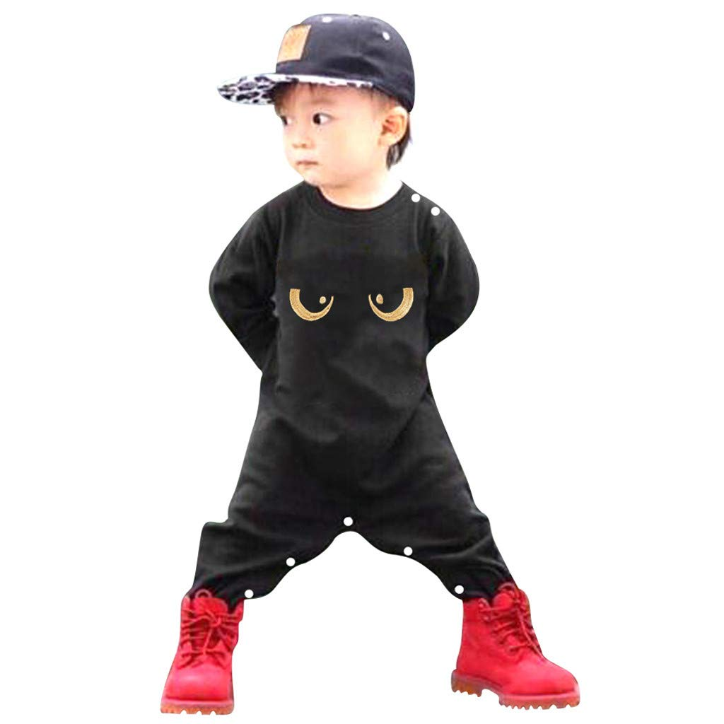 NUWFOR Newborn Infant Kids Baby Boys Long Sleeve Eyes Romper Jumpsuit Outfits Clothes(Black,3-6 Months)