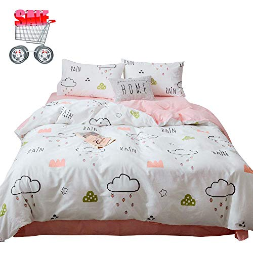 - Clouds Stars Printed Duvet Cover Set 3 Pieces100% Cotton Reversible Cartoon Pattern Girls Bedding Set Queen Kids Duvet Cover White Pink with 2 Pillowcases (Queen, No Comforter)