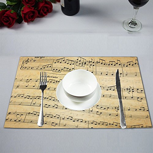 Stave Place (ADEDIY Custom Placemat Music Notes on Stave Old Paper Table Placemat Food Mat 12x18 Inch Non Slip Table Linen (4 Pieces))