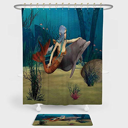 Mermaid Shower Curtain And Floor Mat Combination Set Fairy Marine Cute Mermaid Girl and Dolphin Fish Swimming Underwater in Blue Ocean Image For decoration and daily use (Marina Nickel Shower Curtain)