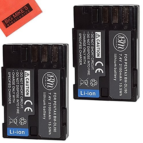 BM Premium Pack Of 2 D-LI90, DLI90 Batteries for Pentax K-1 DSLR, K-01, K-3, K-3 II, K-5, K-5 II, K-5 IIs, K-7,SLR 645D Digital Camera