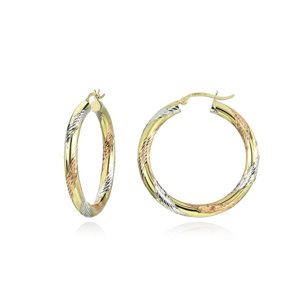 14K Gold Tri Color Polished & Diamond-Cut 4x32mm Lightweight Medium Round Hoop Earrings by Hoops & Loops (Image #1)