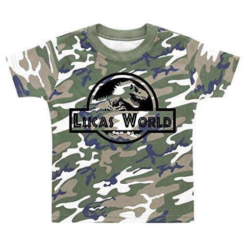 5811a5a0ebb6f Personalised Name World Camoflauge T-shirt Kids T-shirts Custom ...