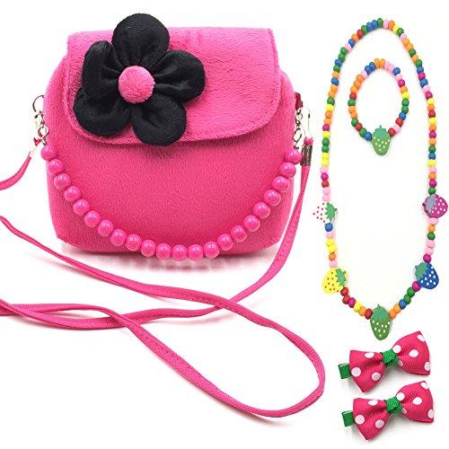 Little Girl Beauty Set Plush Flower Handbag + 2 Hair Clip + Necklace and Bracelet (Rose)