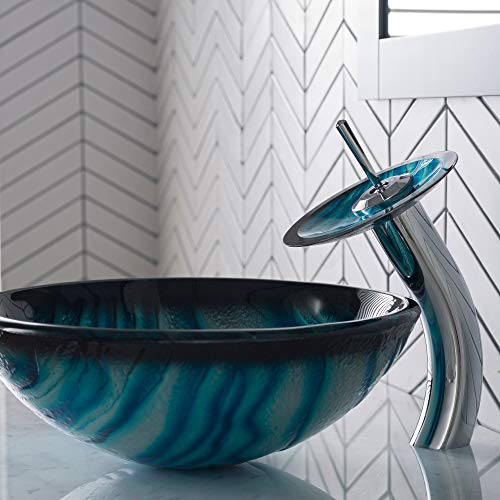 (Kraus C-GV-399-19mm-10CH Ladon Glass Vessel Sink and Waterfall Faucet)