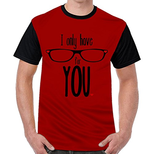 FunnyKing I Only Have For You Mens Printing Round Neck T Shirt Short Sleeve T-Shirt Dark Red