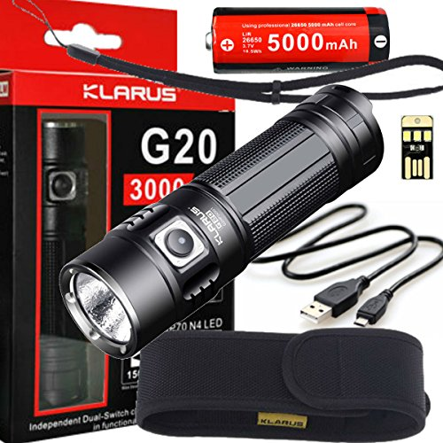 Klarus G20 SUPER BUNDLE Includes LED 3000 Lumen Flashlight, 26650 Rechargeable Battery, Holster, Lanyard, USB Charging Cable, and Mini USB light