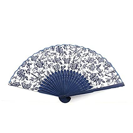 eDealMax El bambú Chino Manija plegable de Tela patrón de la Flor de la Mano del