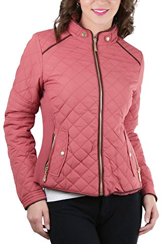 ToBeInStyle Women's Quilted Padded Jacket Suede Piping - Dusty Pink - (Suede Piping)