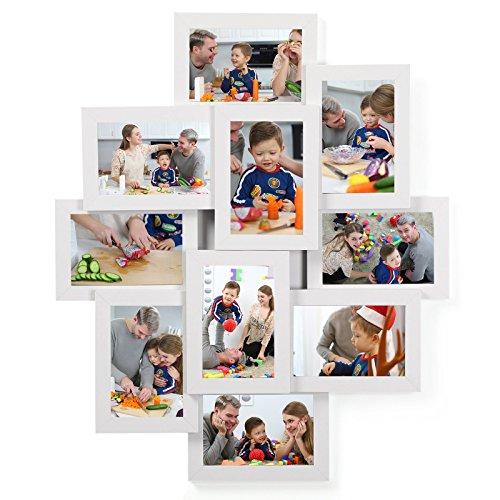 SONGMICS Cadre Photo, Pêle-mêle Mural, Capacité 10 Photos de 10 x 15 cm, en Panneaux MDF, Nécessite Assemblage, Blanc RPF20WT