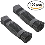 100pcs Cable Ties Reusable Fastening Wire Organizer Cord Rope Holder, Wraps Straps 8 Inch (Black)