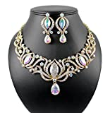 Janefashions GLAMOROUS AB AUSTRIAN RHINESTONE CRYSTAL NECKLACE EARRINGS SET PROM N1782AB GOLD