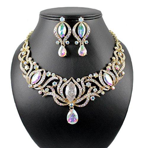 (Janefashions Glamorous AB Austrian Rhinestone Crystal Necklace Earrings Set Prom N1782AB Gold)
