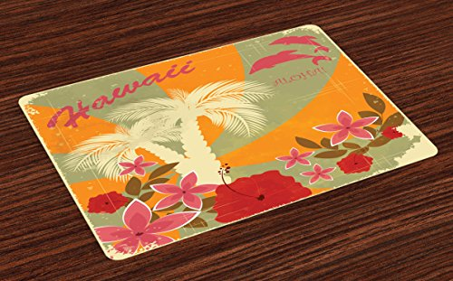 - Lunarable Hawaiian Place Mats Set of 4, Aloha Vintage Print Colorful Swirl Backdrop Dolphins Palm Trees Flowers, Washable Fabric Placemats for Dining Room Kitchen Table Decor, Green Marigold