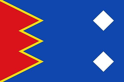 magFlags Bandera XL Arcos de Las Salinas - Teruel - España paño de proporción 2/3, Azul; al tercio del asta un dentado Rojo de Tres | Bandera Paisaje | 2.16m² | 120x180cm: Amazon.es: Jardín