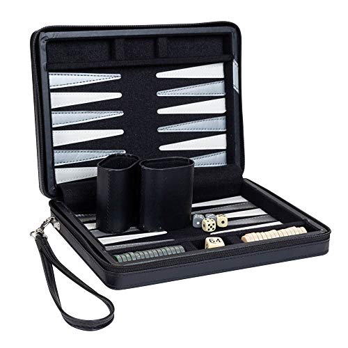 (Compact Travel Magnetic Backgammon with Carrying Strap - Black with Grey Stripe)