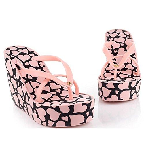 1e566532641b True Meaning New design Women s high-heeled slip-resistant slippers Wedge  Sandal Pink38 on