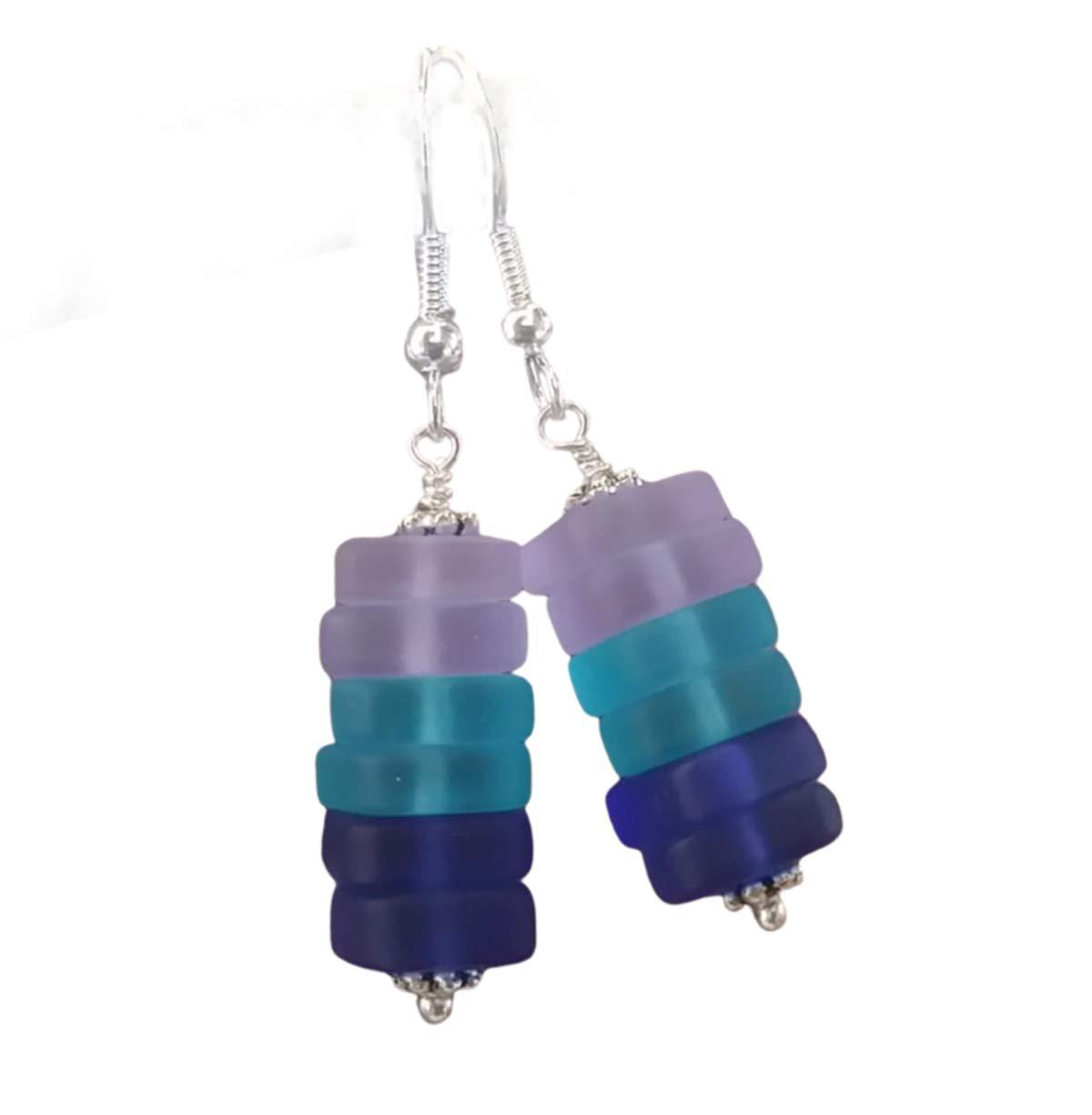 Handmade sea glass jewelry from Hawaii,Purple blue cobalt sea glass earrings,Dangle earrings, (Hawaii Gift Wrapped, Customizable Gift Message)