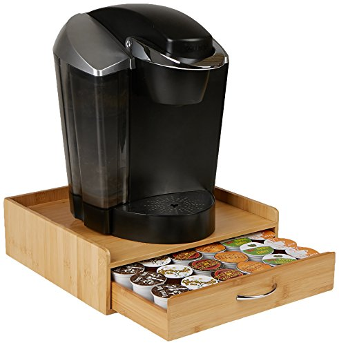 Mind Reader 36 Capacity Bamboo K-Cup Single Serve Coffee Pod Storage Drawer with Lip Panel, Brown (Keurig Cup Holder Wood)