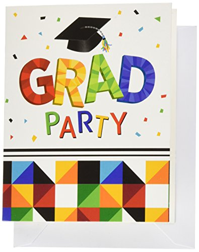 Creative Converting 25 Count Graduation Party Invitations, Fractal - Solid Blue Invitations