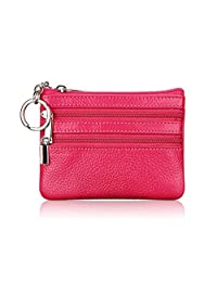 Mariego Genuine Leather Card Case Coin Change Purse with Key Ring