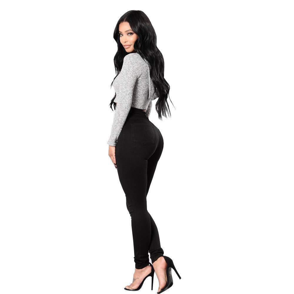 2816111dc17e4 High Waist Women Jeans Push Up Stretch Hose Leggings Skinny Slim Fitness  Denim Pants Long Trousers Tall  Amazon.co.uk  Clothing