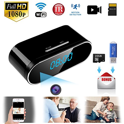 Hidden Camera WiFi Spy Camera Hidden Video Recorder Real Time HD 1080P Wireless Hidden Nanny cams Clock Night Vision Motion Detection Free 16GB Micro card Hidden security camera for Home,Office, Kids,